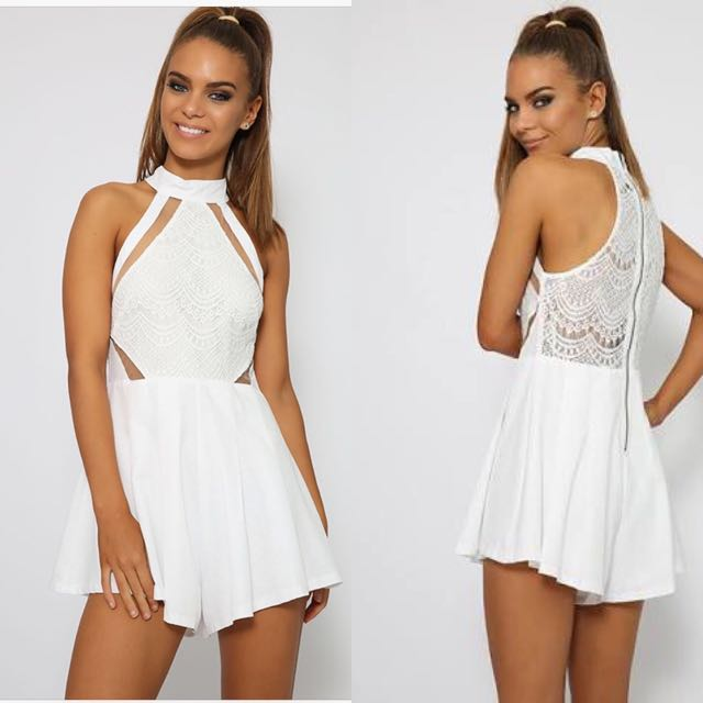 3e2d3b107a9 PepperMayo White Lace Playsuit