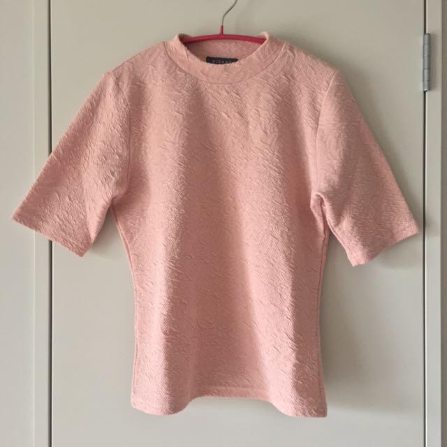 Pink Mockneck Shortsleeve Top Size L