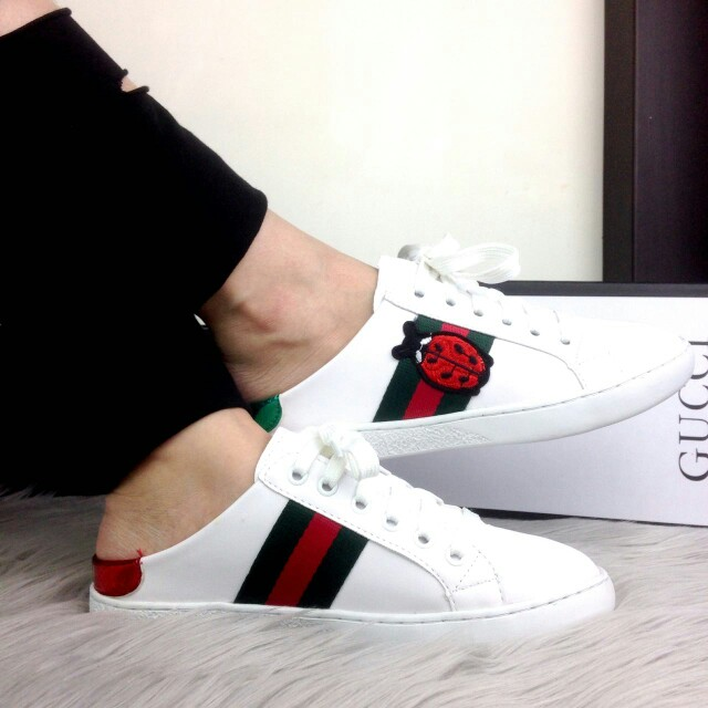 PO.3-5hari. Gucci sneakers. Size 36 -sole 23cm, 37 -sole 23.5cm, 38 -sole 24cm, 39 -sole 24.5cm, 40 -sole25cm. (LIMITED STOCK). Gucci sneakers Seri Gucci Ace Beatle Embroidered Slip Sneakers.