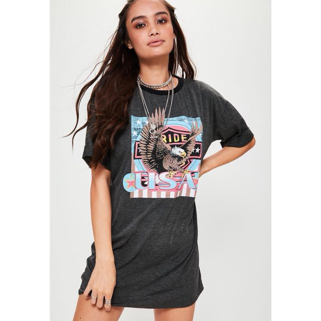 printed graphic rock jersey t-shirt dress grey