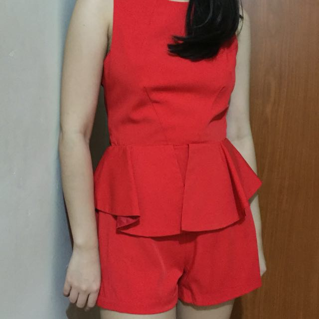 Red short jumpsuit