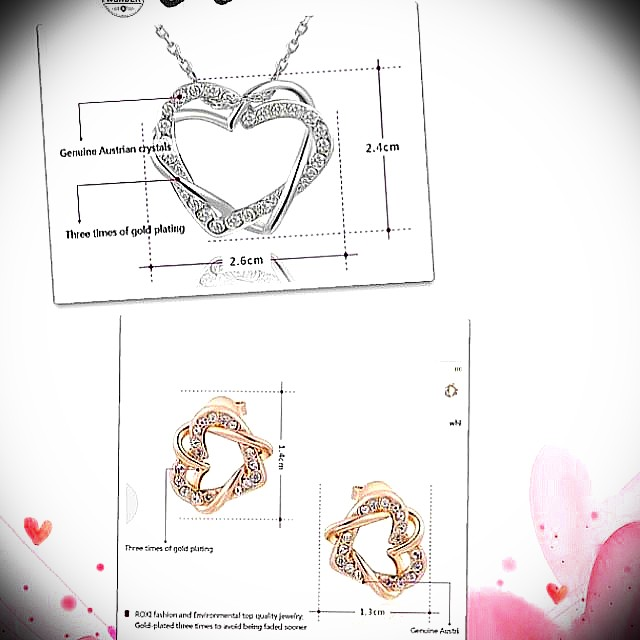 Mother's Day gift- Rose gold plated heart shaped jewelry earrings and necklace with pendant set for women