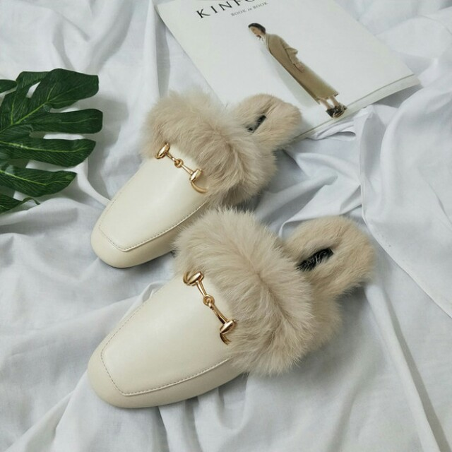 Round Toe Buckle Decor Fluffy Slippers