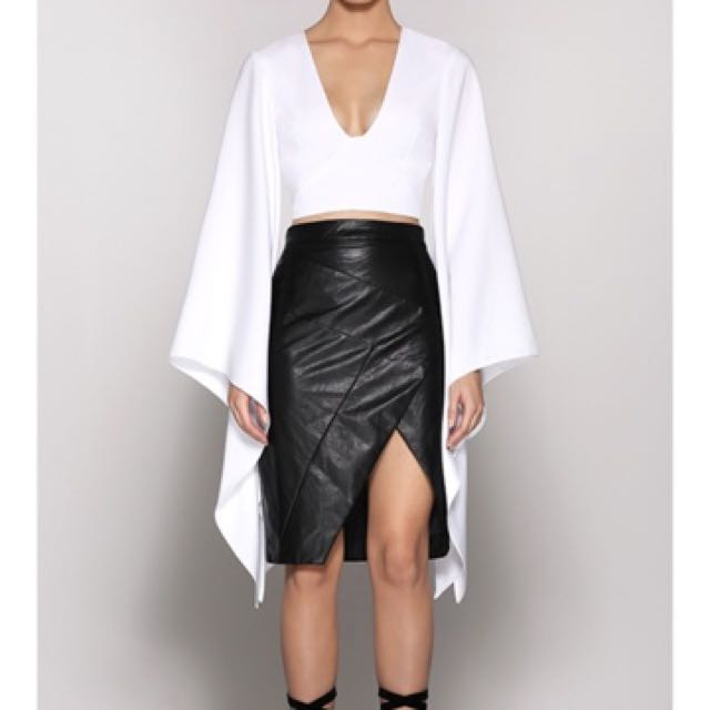 Runaway the label black leather skirt