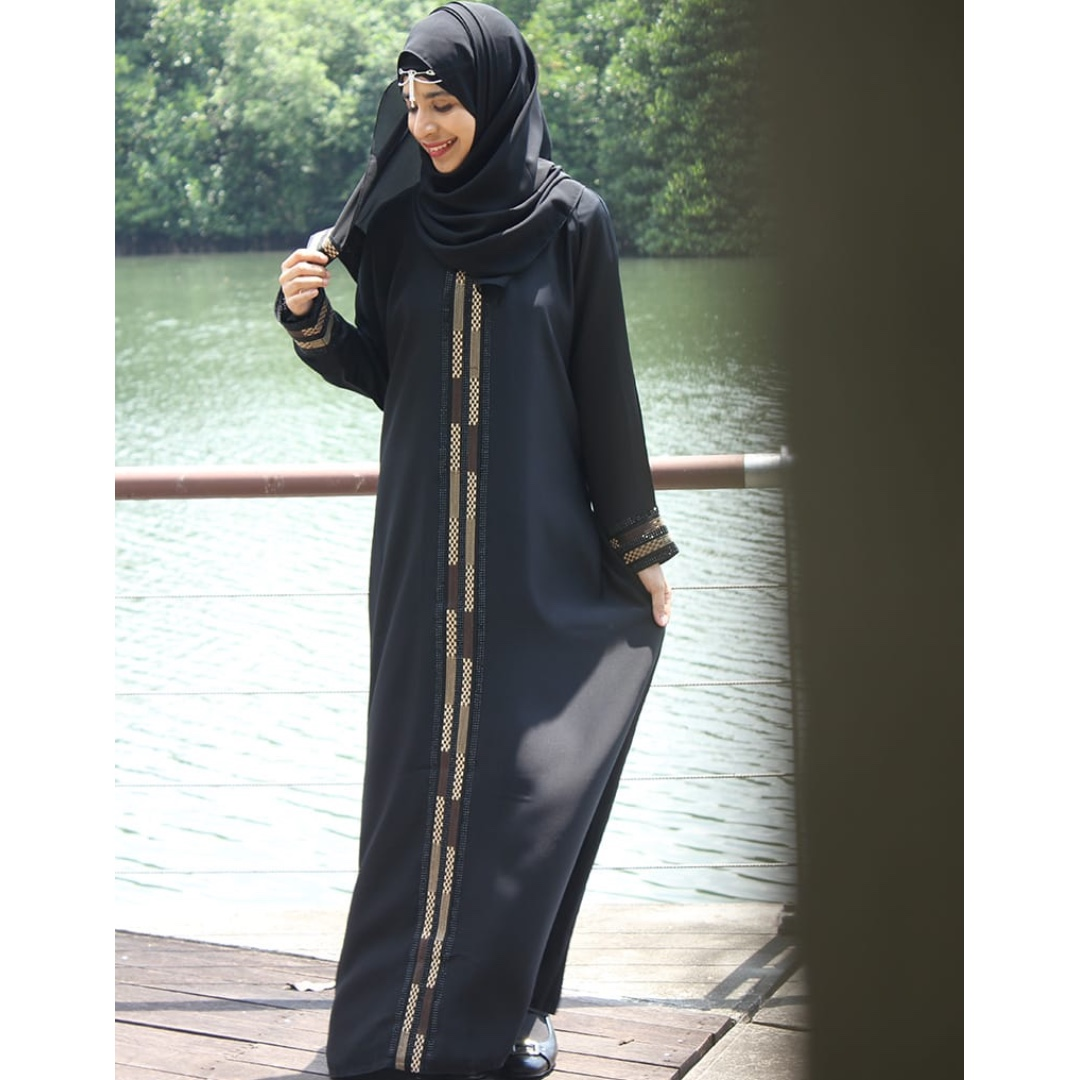 d7a266fe593f36 SJ7314 MoonAbaya Black Dubai Abaya Brown   Beige Checkered Pattern ...