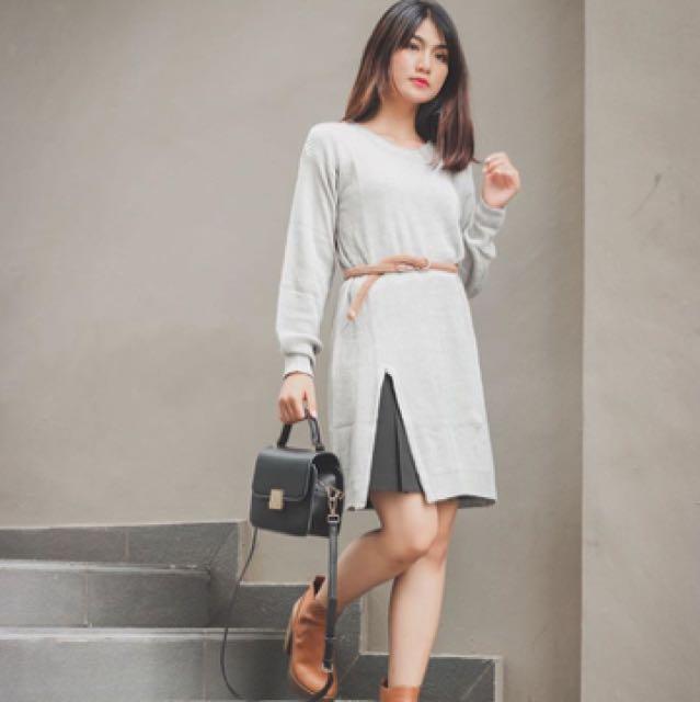 Slit Knitted Dress