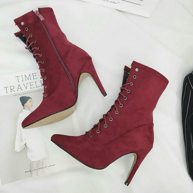 Stylish Solid Lace Up Pointed Toe Stiletto Heel Booties