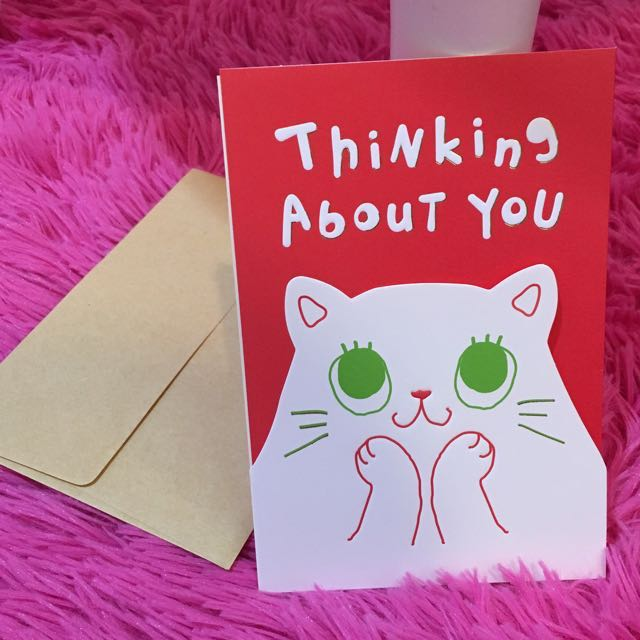 Thinking about you miss you greeting card friendship love boyfriend thinking about you miss you greeting card friendship love boyfriend girlfriend love letter cat kitty green eyes meow red design craft m4hsunfo