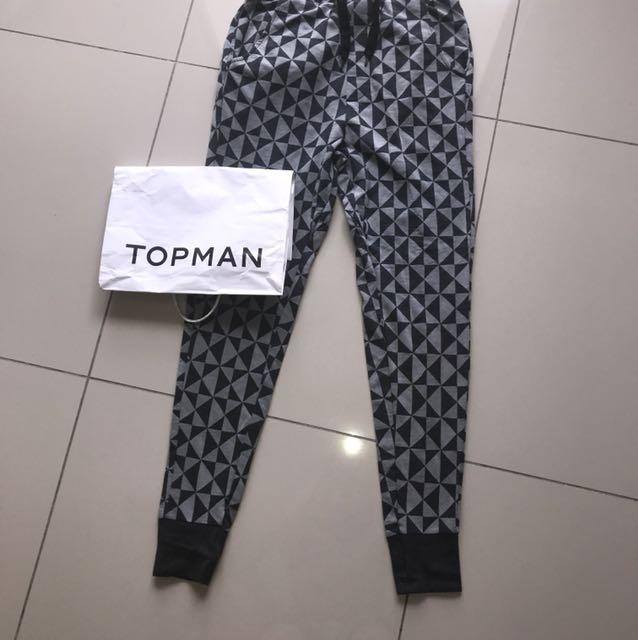 TOPMAN grey white cotton lounge long pants jogger
