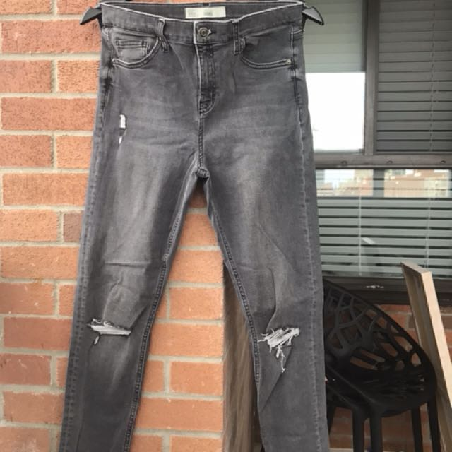 TOPSHOP  distressed high rise grey jeans. Size- 30 length 32