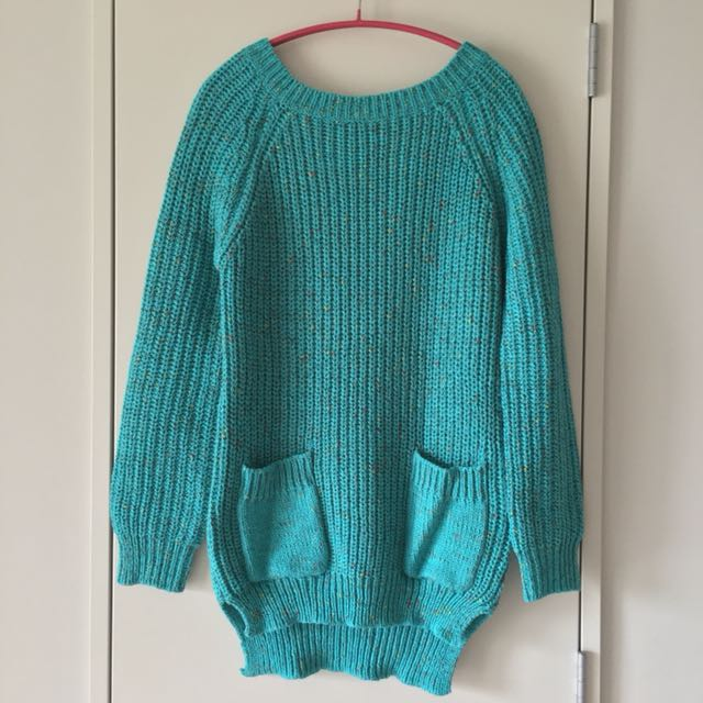 Turquoise Speckled Long-sleeve Long Sweater With Pockets Size: M