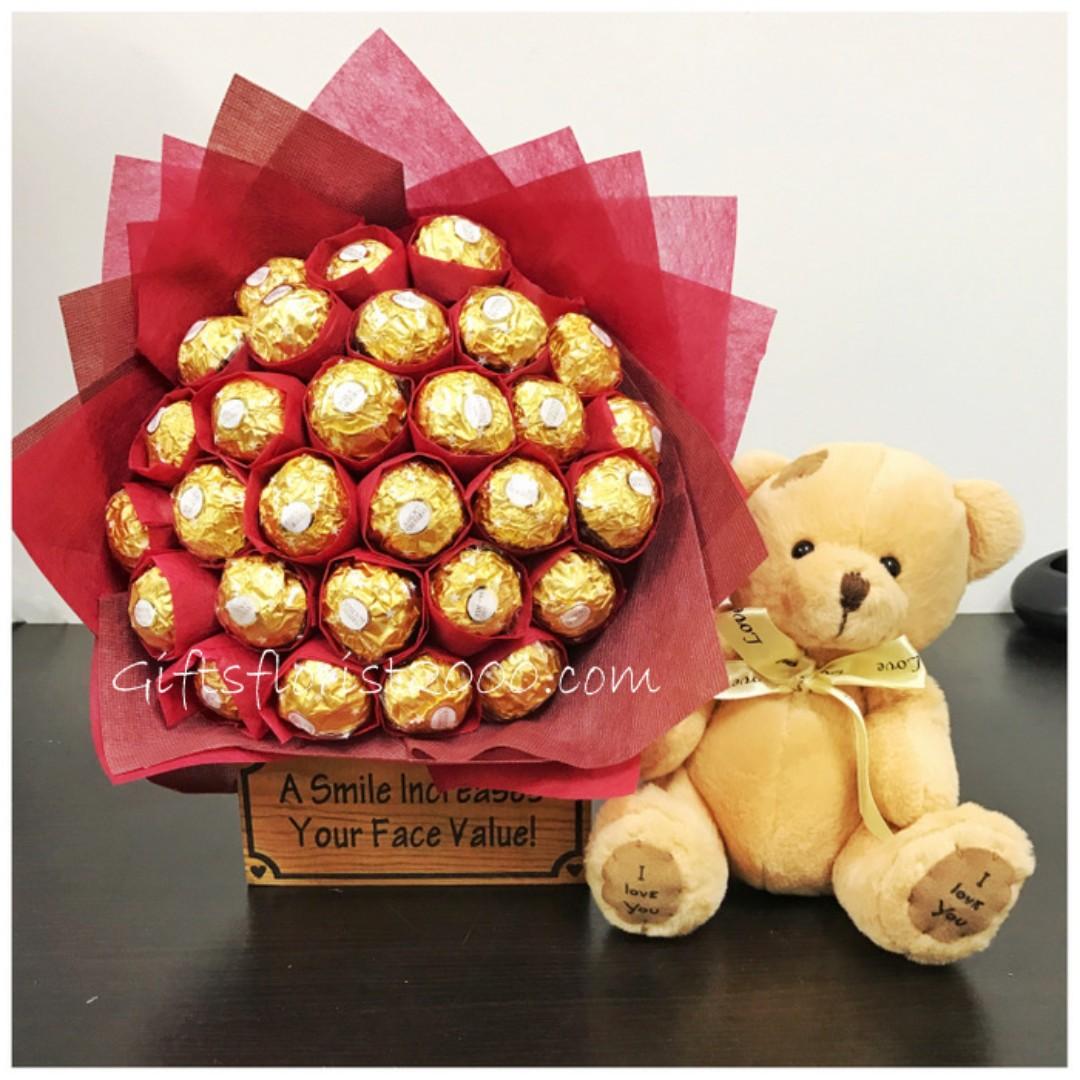 Valentine's Day Chocolate Bouquet With Teddy Bear