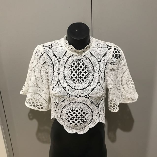 White crochet high neck cropped top