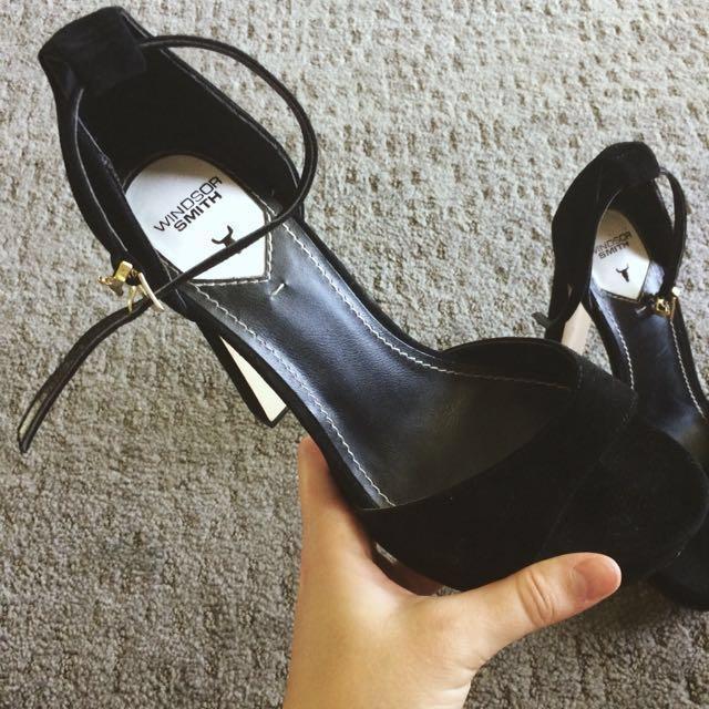 Windsor Smith Black Open Toe Heels