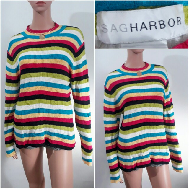 (XL) Sag Harbor multicolor stripes knitted top