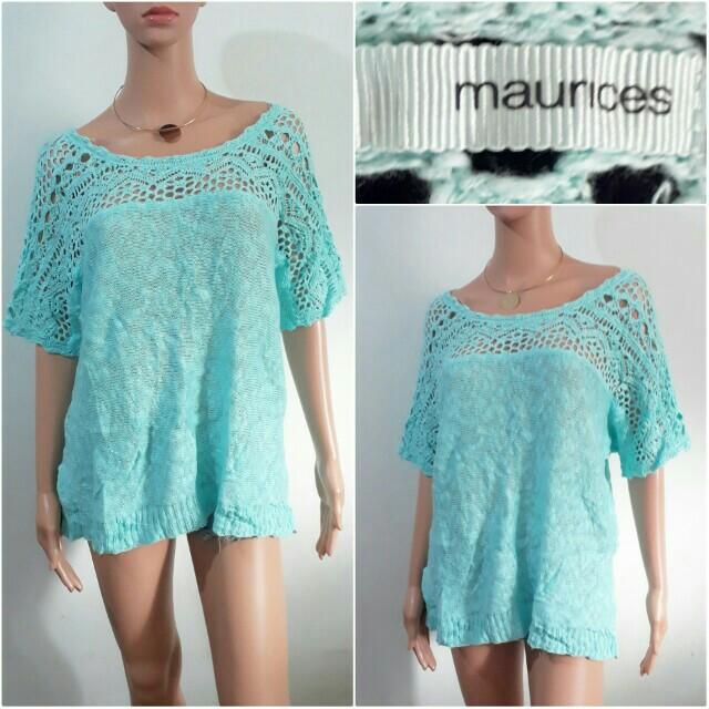 (XXL) Maurices light blue crochet top