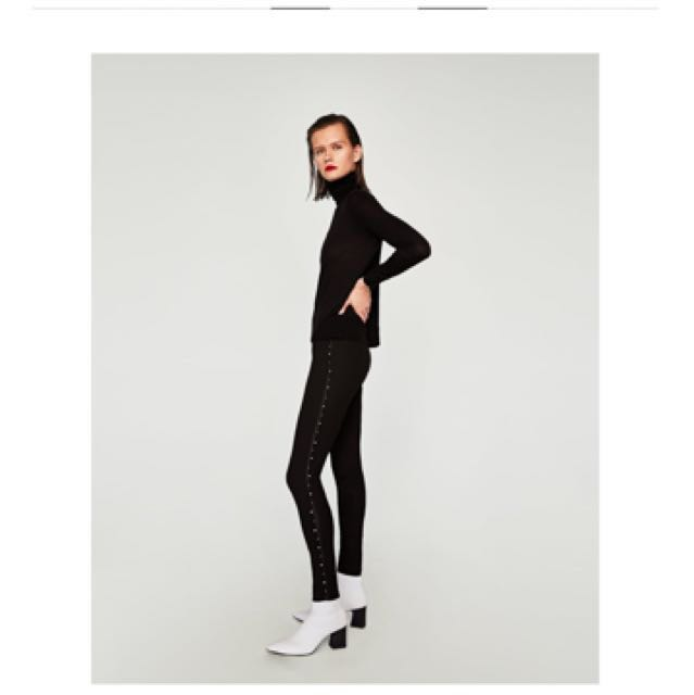 ff0791f9 ZARA leggings with faux pearl on the side, Women's Fashion, Clothes,  Bottoms on Carousell