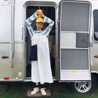 韓國農場乳白工作吊帶裙