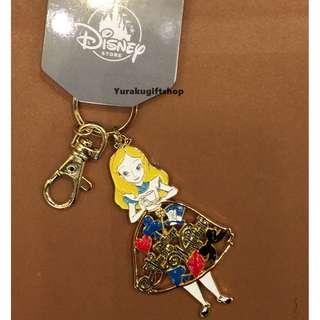 日本直送 DISNEY STORE ALICE 愛麗絲 金屬匙扣 妙妙貓 時間兔