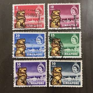 Singapore 1959 self government stamps 6v used
