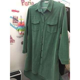 🚚 墨綠絨質洋裝-免運費