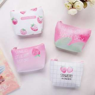 STRAWBERRY PU COIN CARD KEY POUCH