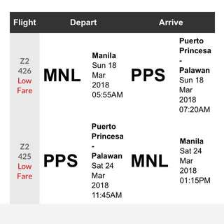 PALAWAN RT TICKETS (via AirAsia; MNL-PP-MNL)