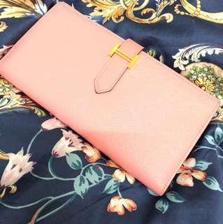 Hermes GHW pink Bearn wallet