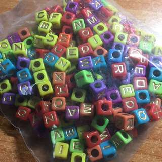 Alphabet Beads - Colourful 7mm ( Gold Letters )