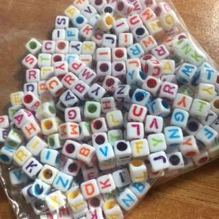 Alphabet Beads - White Colourful 6mm