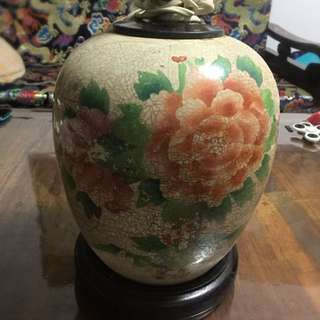Flower motif Antique Vase converted into table lamp
