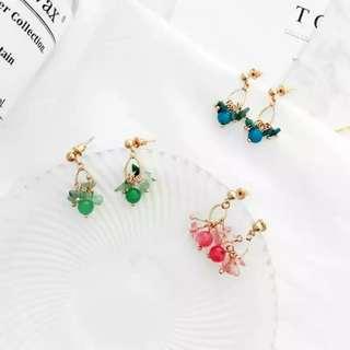 韓國水滴碎石晶瑩耳環