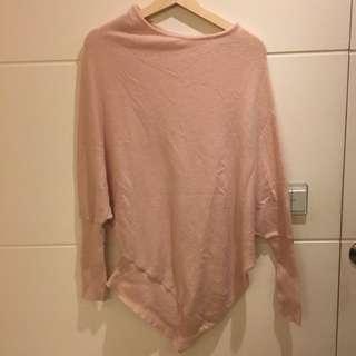 高端日牌 Iena 淡粉色變形羊毛衣 長版