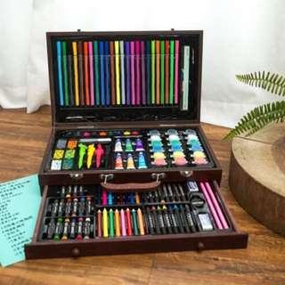 Korean Professional Artist Kit Coloring Materials Complete Design Super Art Tool Set List Supplies Wooden Box