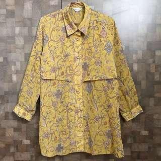 古著罕見芥末黃花卉襯衫