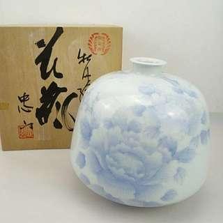 鍋島燒牡丹花瓶