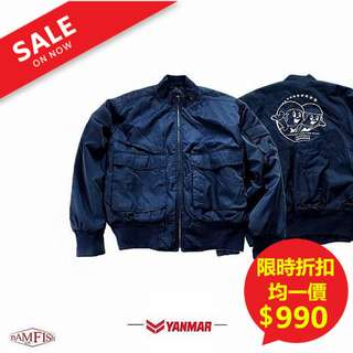 <二手正品>日本【YANMAR】G-8 MA-1 FLIGHT JACKET經典刺繡款飛行外套 L號深藍色