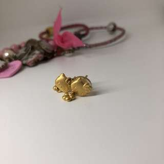24k gold hellokitty ear ring
