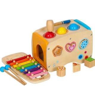 BN 3-in-1 Wooden Pound & Tap Bench with Slide Out Xylophone