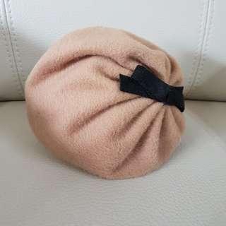 韓國手工髮帶造型貝雷帽卡其色