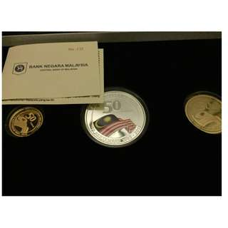 Malaysia Day Proof Coin set of 3 2013 Gold Silver