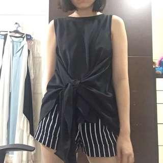 Shopatvelvet black wrap tie top