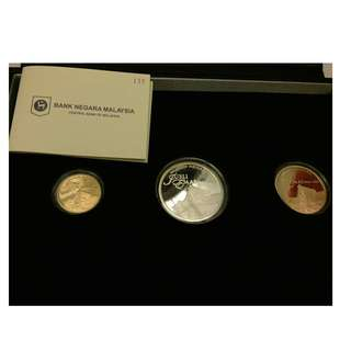 Malaysia Muzium Proof Coin set of 3 Silver Gold 2013 National Museum