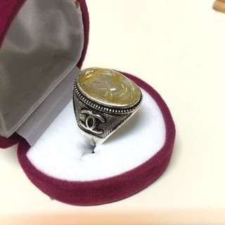 開口水晶招財進寶銀戒指