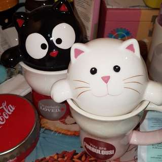 Hills's cat mugs with cover
