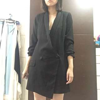 Zalora black tuxedo blazer dress