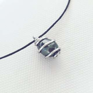 Handmade/crafted hematite wire jewellery with adjustable necklace (wire wrap stone with stainless steel and aluminium)