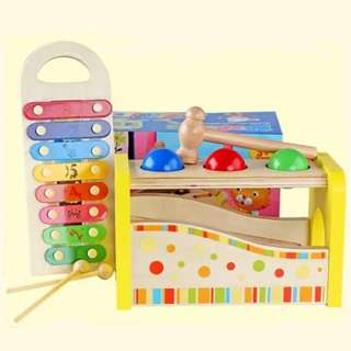 BN 2-in-1 Wooden Tap & Pound Bench with Slide-out Xylophone