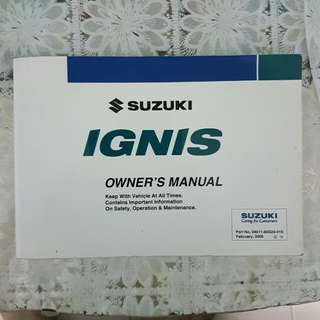 Used Suzuki Ignis swift sport owner manual