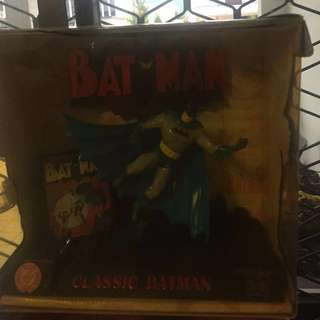 Batman figures , two boxes for $ 35.00 , plastic box has wear and tear .